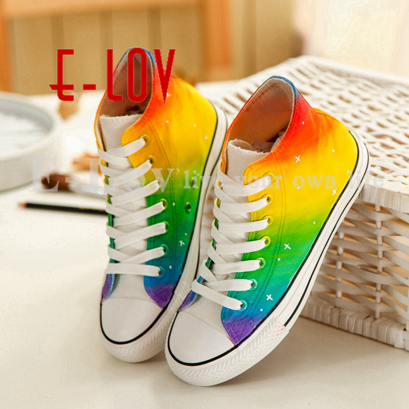 2017 summer rainbow hand painted colorful canvas shoes men and women shoes unisex casual shoes loafer breathable espadrilles e lov new arrival luminous canvas shoes graffiti pisces horoscope couples casual shoes espadrilles women