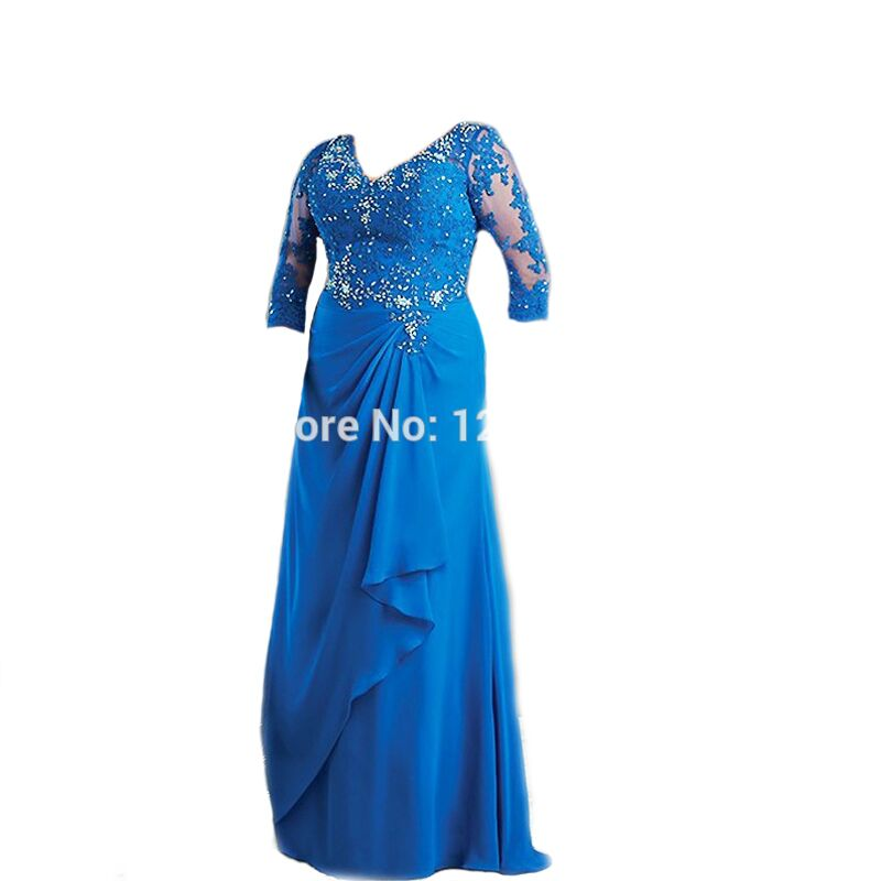 Beaded Lace Appliques Elegant Long Sleeve Royal Blue Mother Of The Bride Dresses Plus Size Outfits YNQNFS MD247