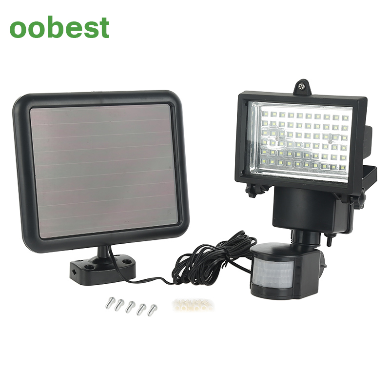 oobest IP65 Solar Panel LED Flood Security Garden Light PIR Motion Sensor 60 LEDs Path Wall Lamps Outdoor Emergency Lamp