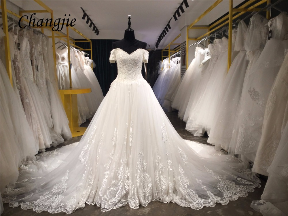 A Line Wedding Gown With Sleeves: 2018 A Line Wedding Dresses V Neck Short Sleeve Lace Up