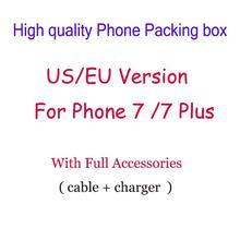 Alta qualidade eua/ue versão caixa de embalagem do telefone com acessórios completos para iphone 7/7 plus dhl navio livre 50 pçs/lote