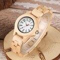 Модные кварцевые часы из натурального бамбука  спортивные легкие женские наручные часы ручной работы с английскими цифрами