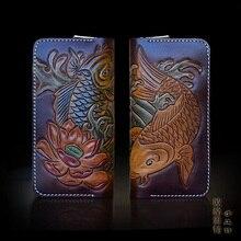 OLG.YAT Handmade leather wallet men Two fish purse women handbag retro Multi-function vintage zipper bag pure Cowhide Choi cloth