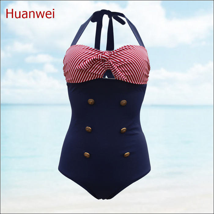 high waist swimsuit Vintage navy striped bikini high waisted bathing suits biquini  swimwear biquini retro swimwears page swimsuit sw0670 navy mult