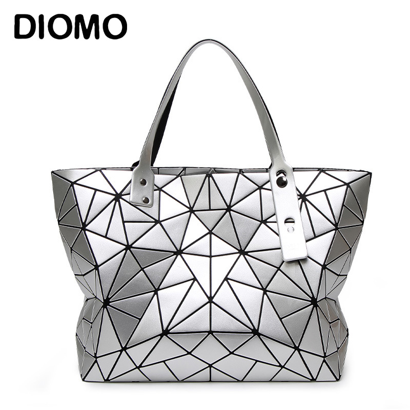 DIOMO Top-handle Bags Geometric Plaid Luxury Handbags Women Bags Designer Fashion Tote Shoulder Bags sac a main open shoulder plaid top