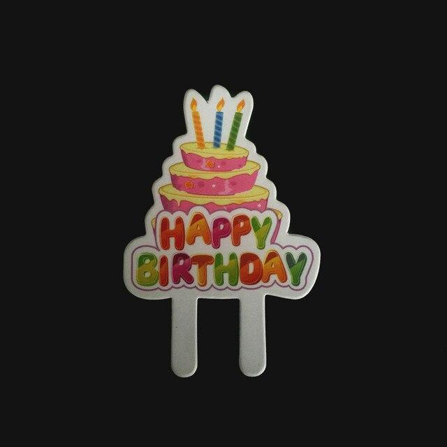 24 STUCKE Papier Cupcake Topper Happy Birthday Dekoration Umweltfreundliche Kerze Kuchen 58