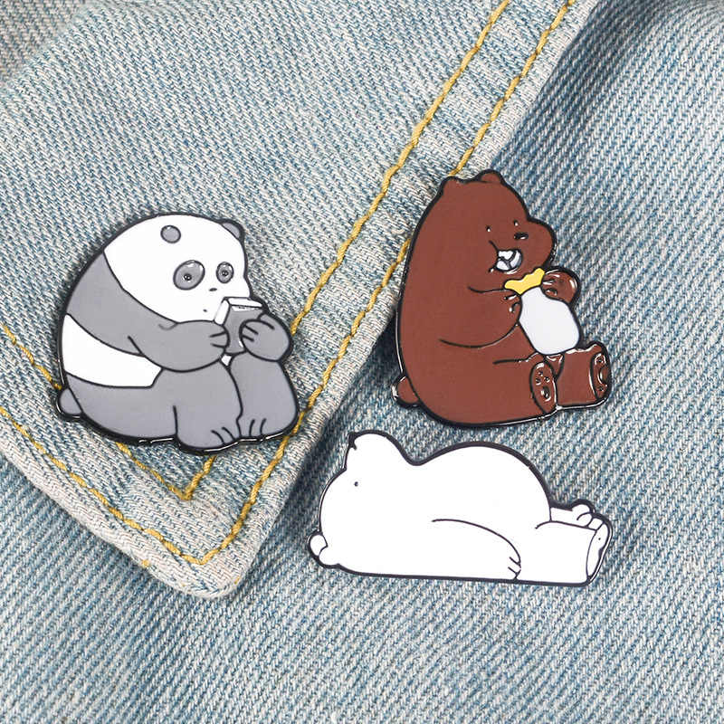Animal Cartoon Pin Bare Bears Cute Grizzly Panda Ice Bear denim Enamel Pins Kawaii Lapel Brooches badges Fashion Gifts