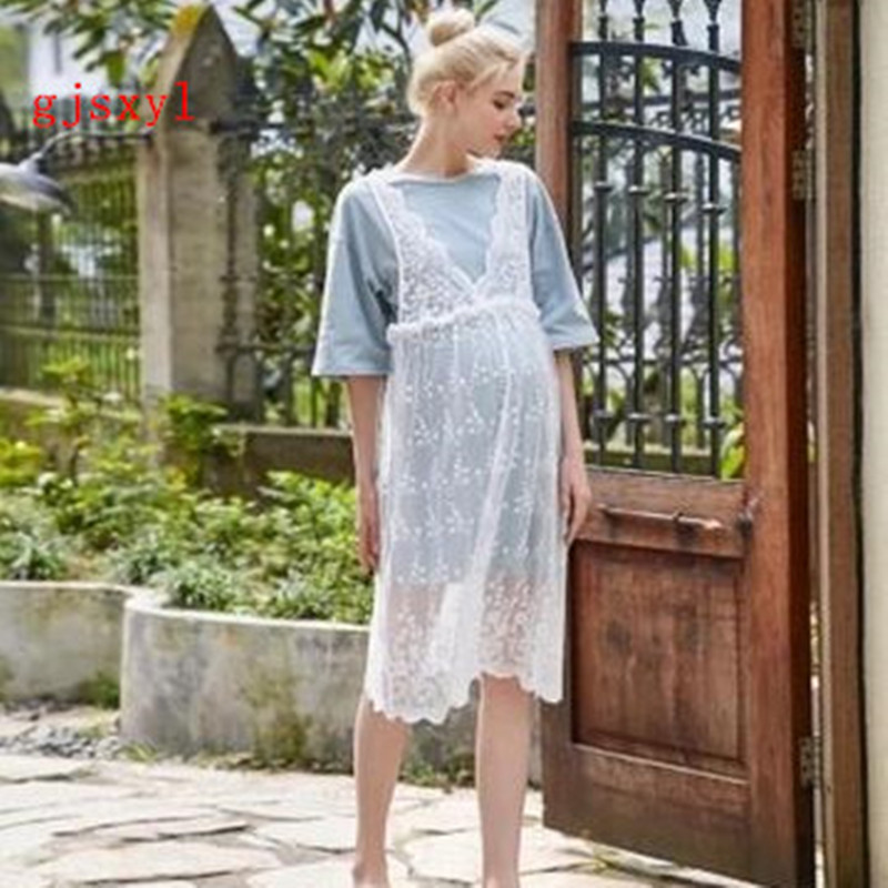2017 new maternity dress summer new lace hollow high-waisted two-piece long paragraph loose comfortable sweet pregnant women ski