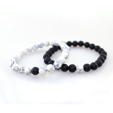 Hot 2Pcs/Set Couples Distance Bracelet Classic Natural Stone White and Black Yin Yang Beaded Bracelets for Men Women Best Friend(China)