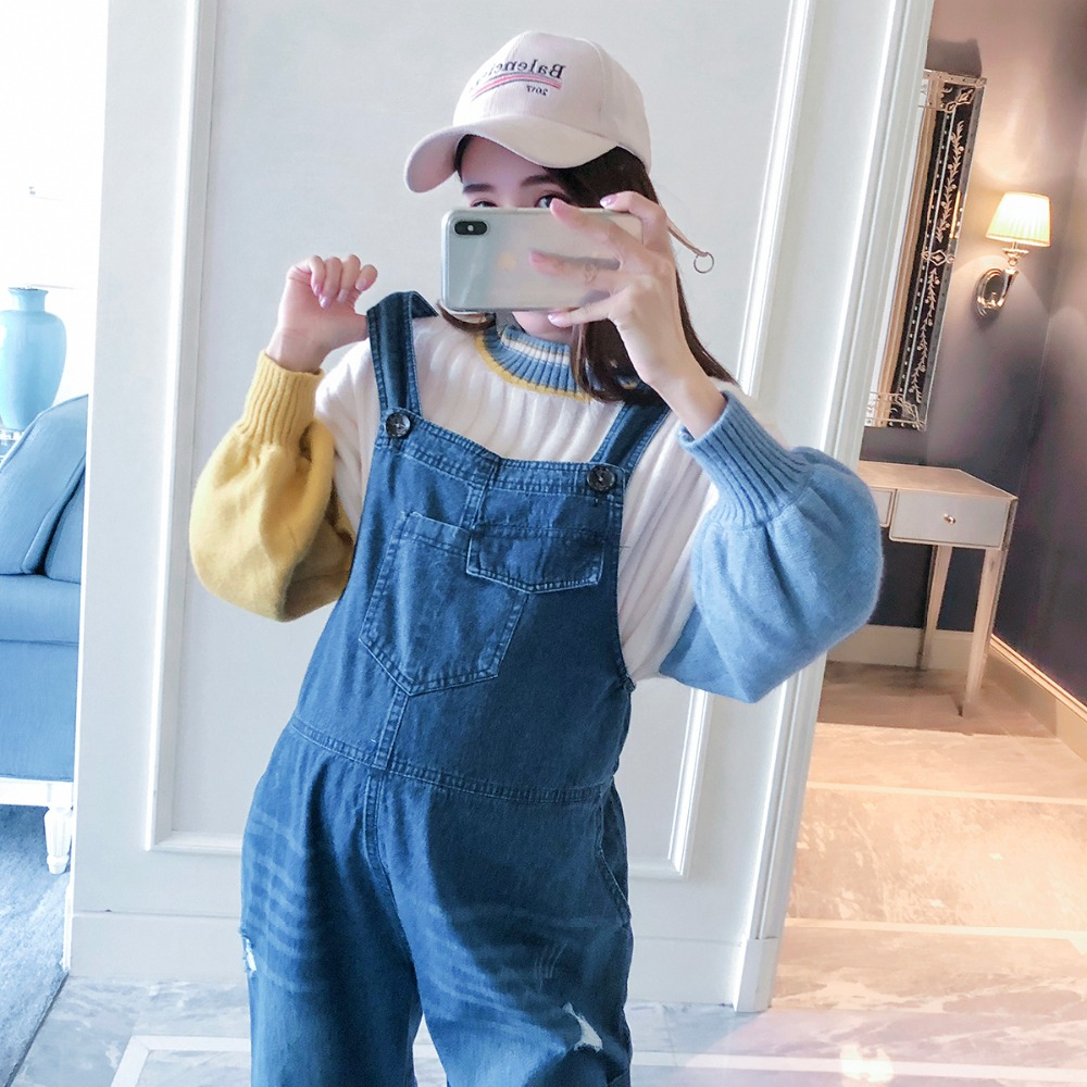 aeda673ce8172 Pregnant women wear pants spring and autumn models wear 2018 new fashion  bib maternity dress tide mother casual wild jeans