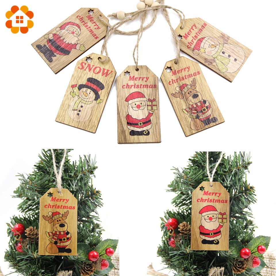 5pcs creative christmas pendant ornaments diy wood crafts home decor xmas tree ornament christmas party decorations kids gift