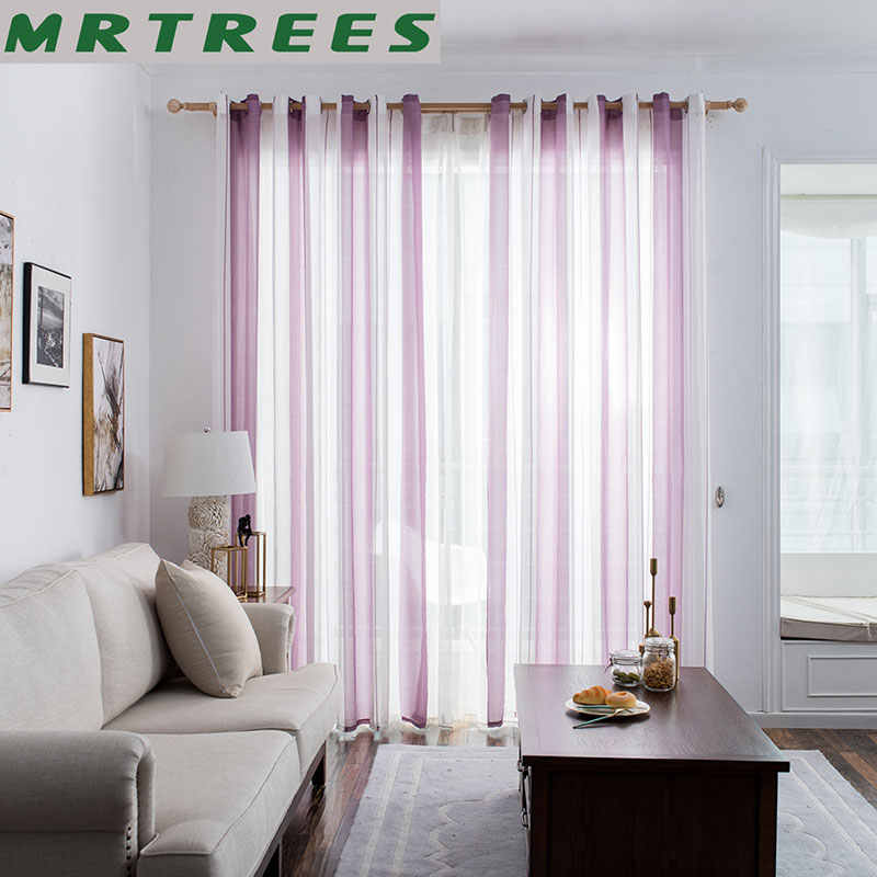MRTREES Striped Sheer Curtains for Living Room The Bedroom Curtains for The Kitchen Modern Tulle Curtains for Window Drapes