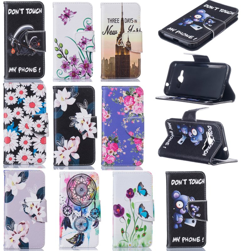 Galleria fotografica Luxury Leather Case for Samsung J1 2016 Wallet Cover for Galaxy J1 2016 J120 J120F SM-J120F Flip Cases Tower Flower Capinha Etui