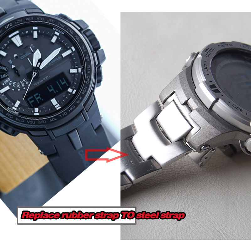 Image 5 - Stainless steel Strap  for CASIO PRG 300/PRW 6000/PRW 6100/PRW 3000/PRW 3100 Watch bands-in Watchbands from Watches
