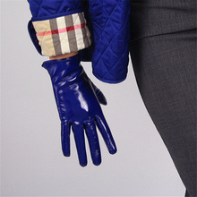 WomenS Patent Leather Gloves Short Paragraph PU Simulation Bright Mirror Blue Deep 21cm BL03
