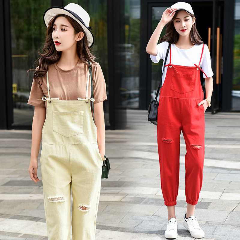 019 New Spring Women Preppy Style Casual Jeans Overalls Ripped Holes Jeans Sleeveless Denim Jumpsuits Solid Color Rompers in Jumpsuits from Women 39 s Clothing