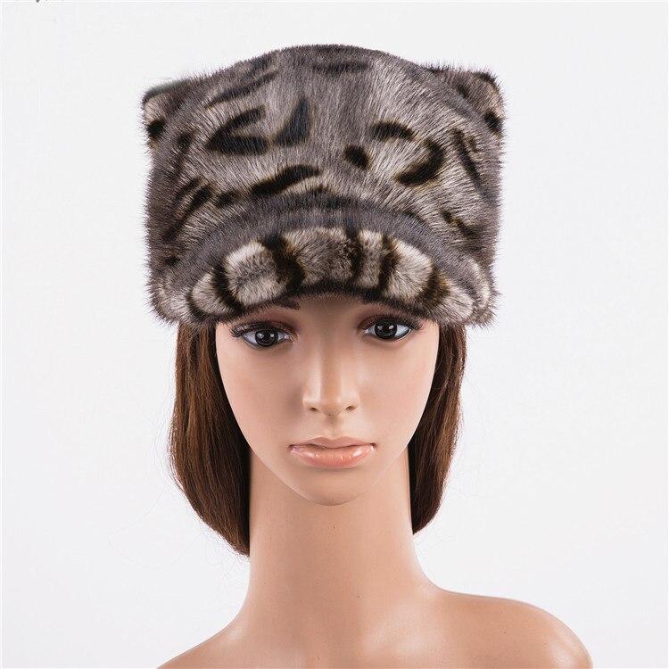 MLHXFUR Винтаж зима Для женщин норки Бейсбол шляпа Кепки уха Шапки симпатичный меховой хвост