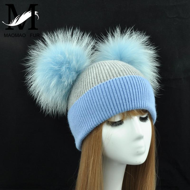 ... New Winter Warm Knit Hat Women Double Real Fur Pom Pom Hats Natural Fur  Ball Beanie ... 4fd25a6cada
