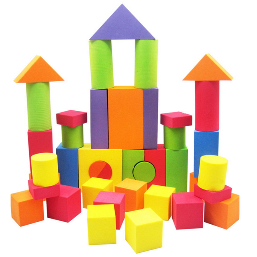 38PCS EVA Safe Children Building Brick Block Foam Construction Soft Toy Kid Baby Intelligence Exercise Assembled Hot Selling