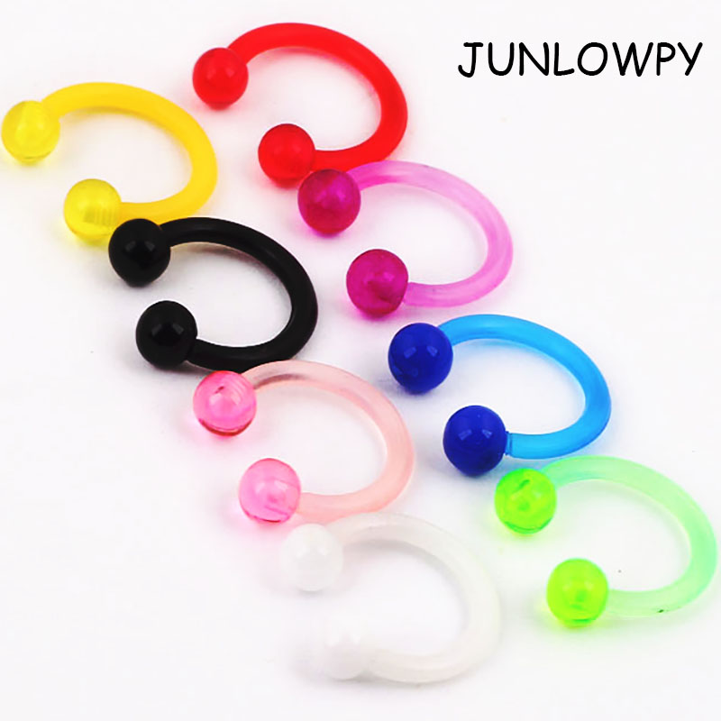 UV Acrylic Plastic Bioflex Horseshoe Bar 100/200/500ps Lip Nose Eyebrow Ear Septum Rings t Cartilage bar Retainer Body Jewelry