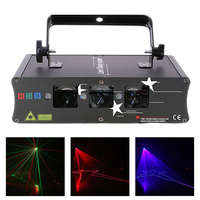 AUCD DMX Single 3 Lens Red Green Blue Beam Scan & 3 Eyes RGB Fireworm Mix Disco DJ Party Show Stage Projector Laser Lights H Q6