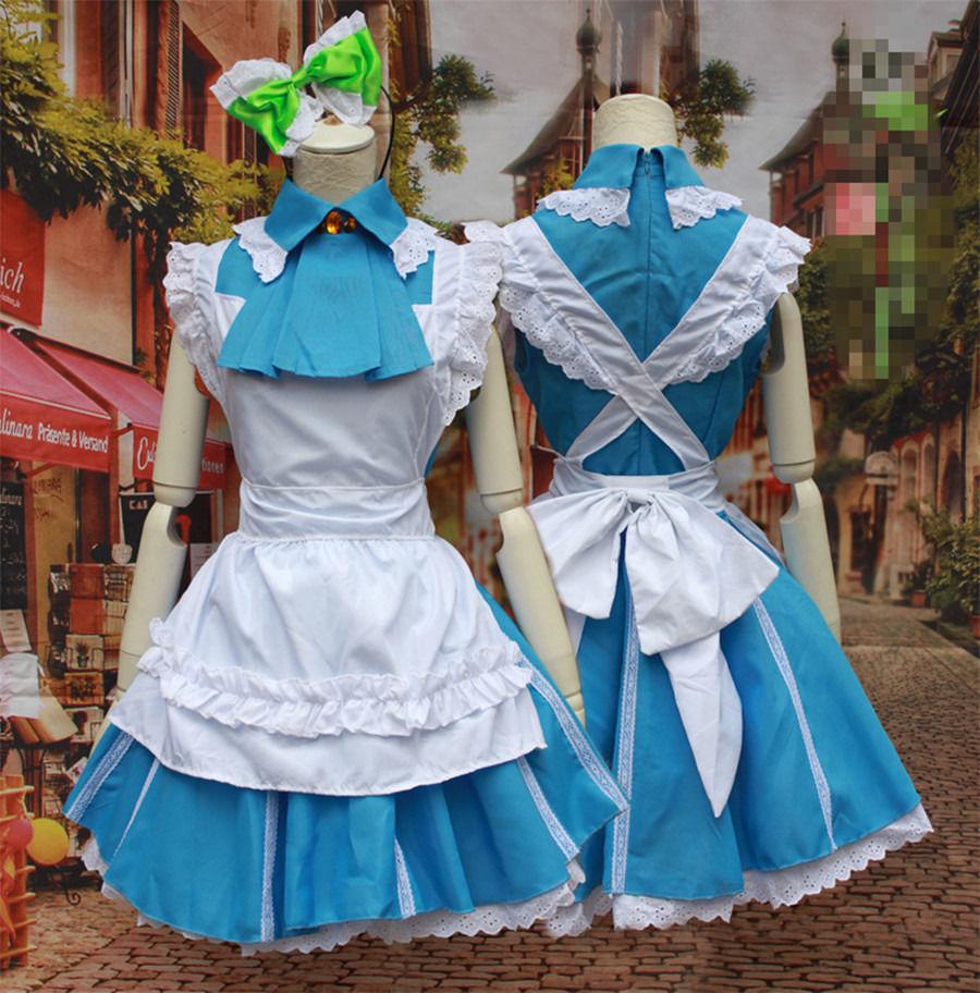 Kotori Minami Cosplay Women Anime Lovelive Short Sleeve Blue Maid Dress Halloween Costume