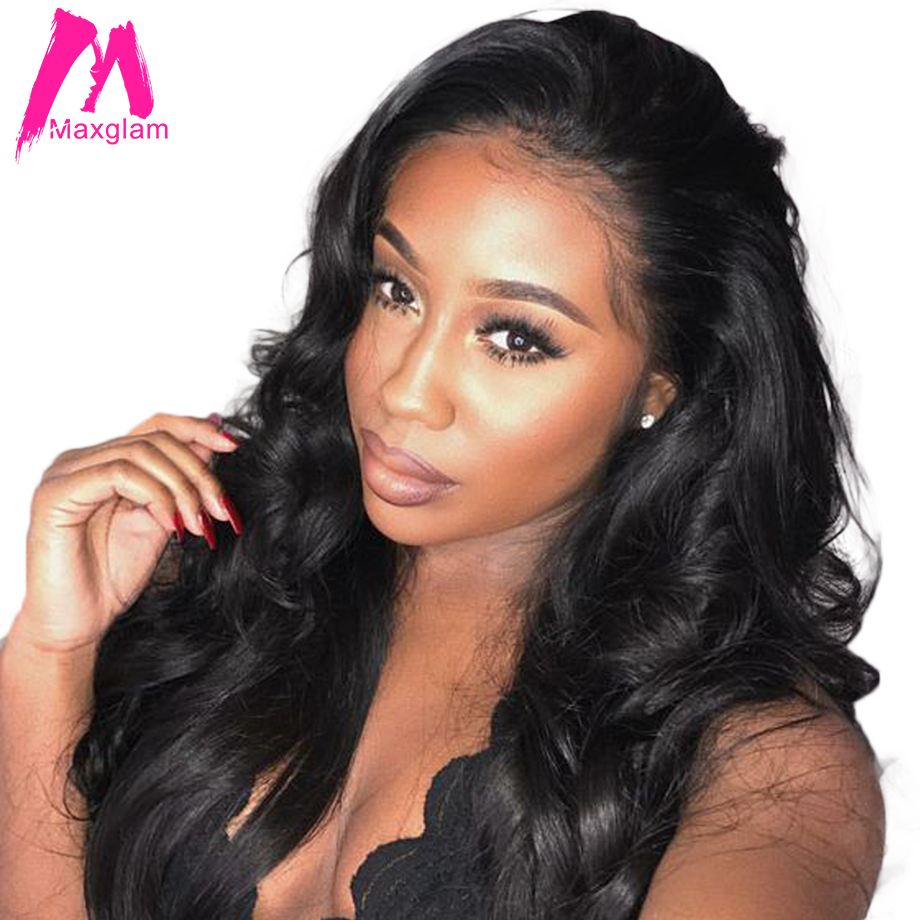 Maxglam lace front human hair wigs for black women body wave brazilian virgin hair wigs pre