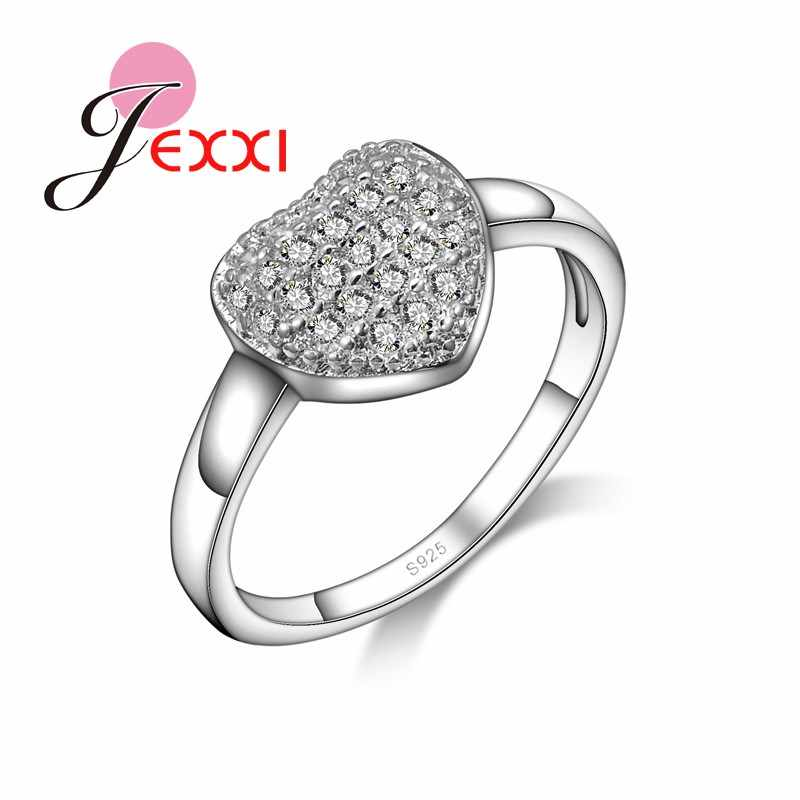 Trendy Shiny Lovely Heart AAA+ Austrian Crystal Woman Ring Pretty Jewelry Accessories Wedding Engagement Finger Rings