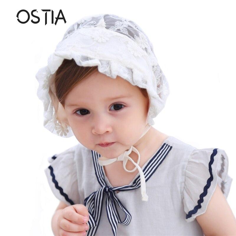 Ostia Lace baby Hat Spring Summer Cap Princess Hollow Baby Girls Hat Lace-up Beanie Cotton Bonnet Enfant Kids Flower Beanie B19
