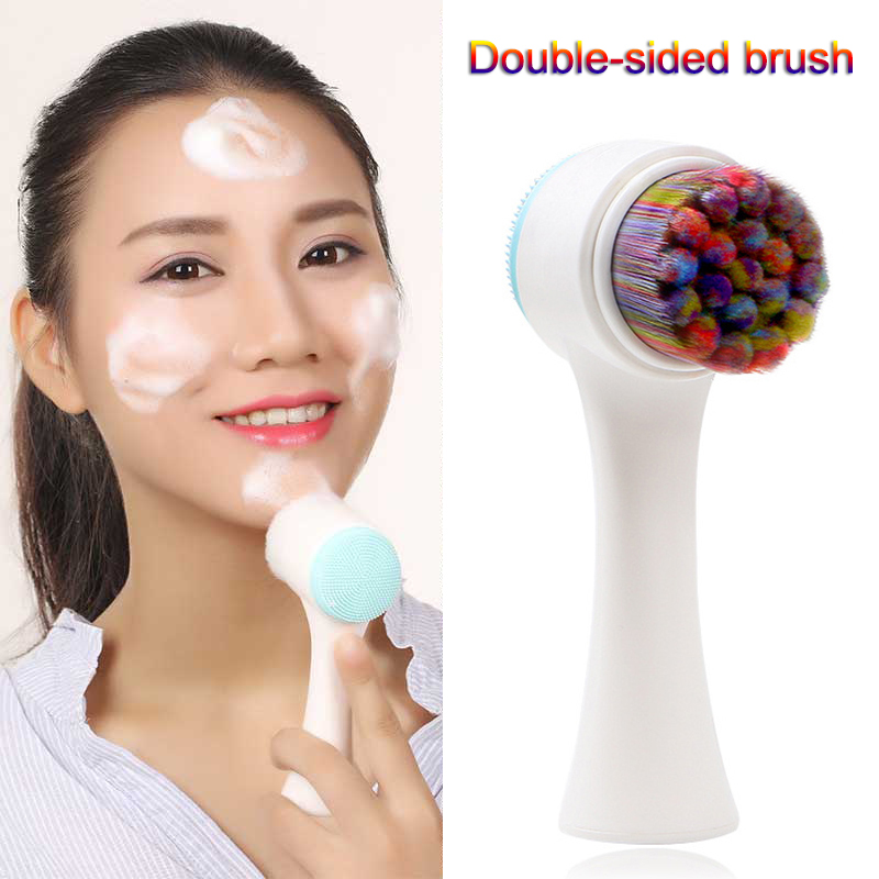 2018 3D Face Wash Brush Practical Facial Deep Cleansing Cleaning Brush Double Sided Silicone Soft Skin Care Tool