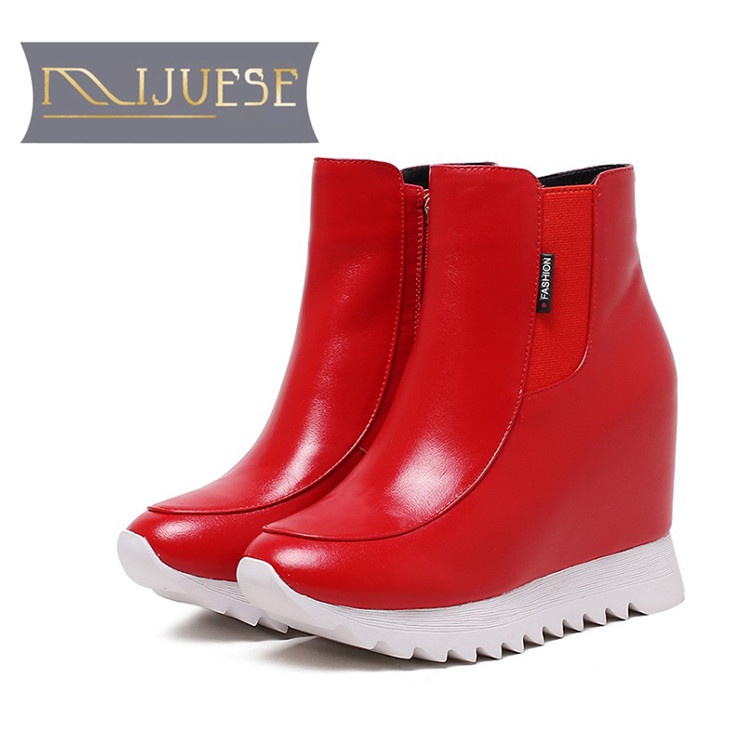 MLJUESE 2019 women Mid calf boots cow leather red color slip on winter wool short plush warm platform wedges women martin boots