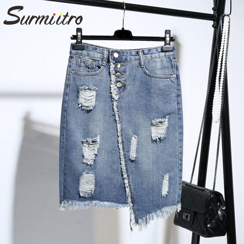 Surmiitro Plus Size 5XL Midi Knee Length Denim Skirt Women 2020 Spring Summer Hole Button Pocket High Waist Big Skirt Female