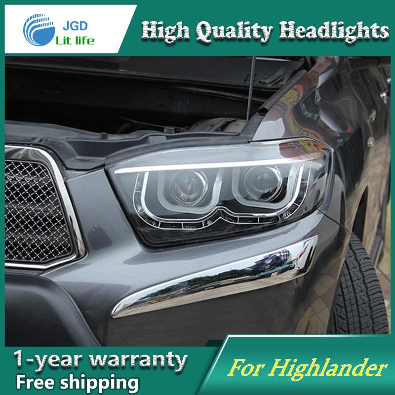 Car styling case for Toyota Highlander Headlights 2009-2011 Headlights LED Headlight DRL Lens Double Beam HID