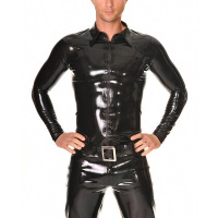 Latex Shirt Sleeves Latex Tight Fitting Costumes Zip Front Men's Latex Tops