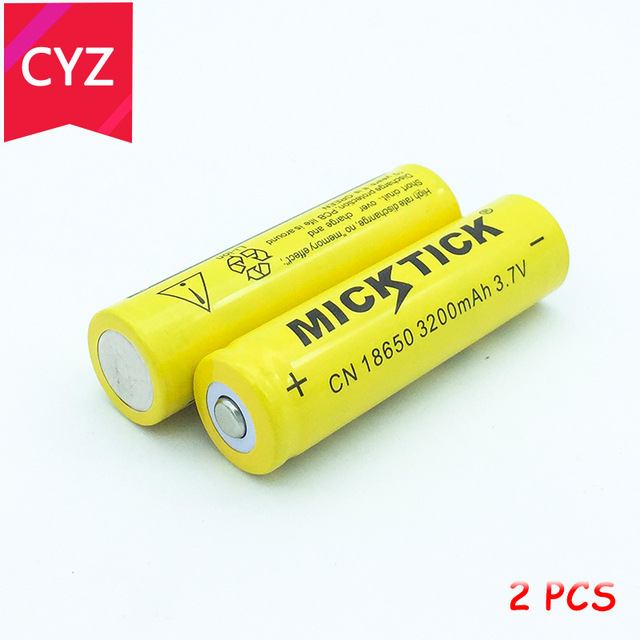 2PCS 18650 3200mAh 3.7V (Not AA) MICKTICK Battery batteria batteries lithium Li Ion Rechargeable Large Capacity Flashlight