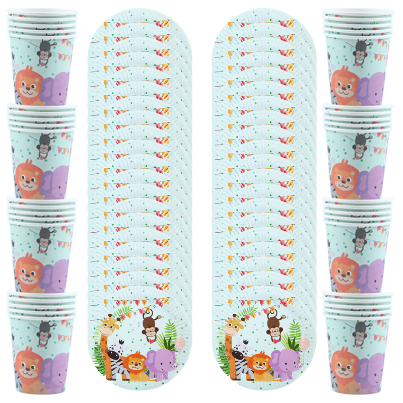 40Pcs\Lot Jungle Animal Theme Birthday Party Decorations Kids Cup+Plate Disposable Tableware Baby Shower Supplies