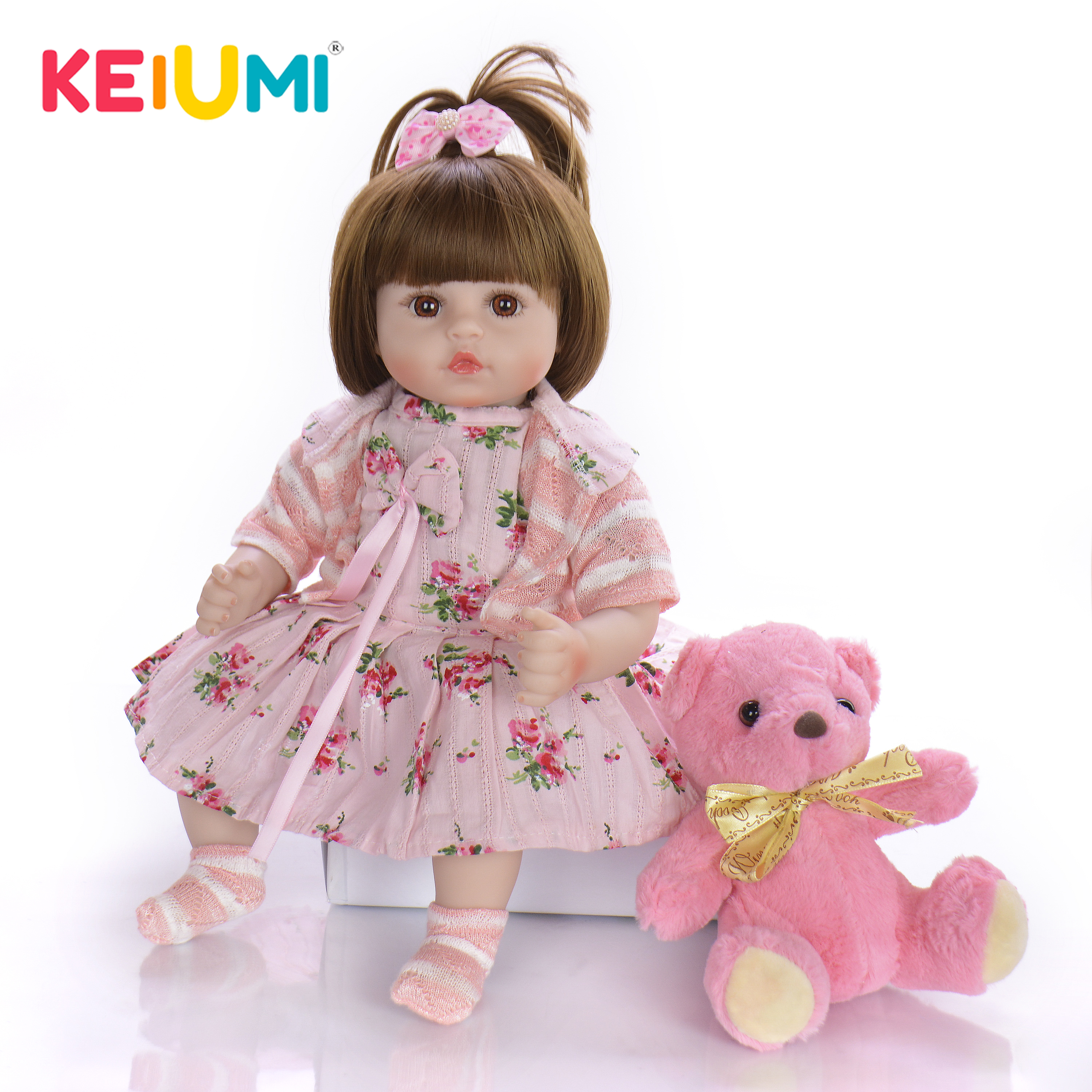 KEIUMI New Design 18 Inch Reborn Baby Lovely Girl Doll With Soft Silicone Vinyl 2019 Cute Baby Toy Doll For Childrens Day GiftsKEIUMI New Design 18 Inch Reborn Baby Lovely Girl Doll With Soft Silicone Vinyl 2019 Cute Baby Toy Doll For Childrens Day Gifts