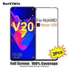 """2PCS Della Copertura Completa di Protezione Dello Schermo In Vetro Temperato Per Huawei Honor V20 6.40 """"9 H vetro di Protezione Per Honor v 20 PCT AL10 Pellicola Caso"""