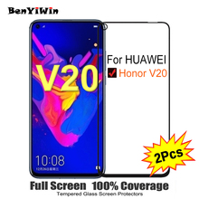 """2PCS Full Cover Screen Protector Tempered Glass For Huawei Honor V20 6.40"""" 9H Protective glass For Honor v 20 PCT AL10 Film Case"""