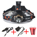 High Power 2000LM Cree xml T6 Headlamp Lights Head Lamp Rechargeable Fishing Hunting Headlight with 18650 Batteries