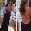 2017 O-Neck Sexy Crystal Beading Black Back Spaghetti Strap Evening Dresses Robe De Soiree Longue