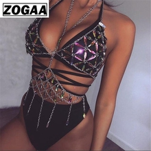 Bling Metal Tassel Details Tank Tops Festival Rave Clothing Summer Sexy Backless Body Chain Beach 2018 ZOGAA