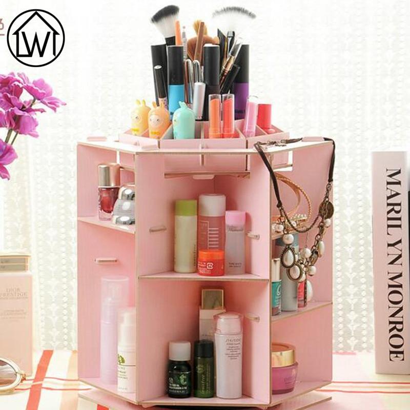360 Degree Wooden Rotatable Jewelry Makeup Cosmetics Jewelry Storage ...