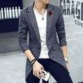 Outono/casaco de Lã dos homens/homens casaco/na seção longa/Moda Slim/Confortável/terno design de colarinho/tb211002