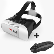 2016 Google Cardboard VR BOX Version VR Virtual Reality 3D Glasses + Bluetooth Wireless Remote Control Gamepad for Smart Phone