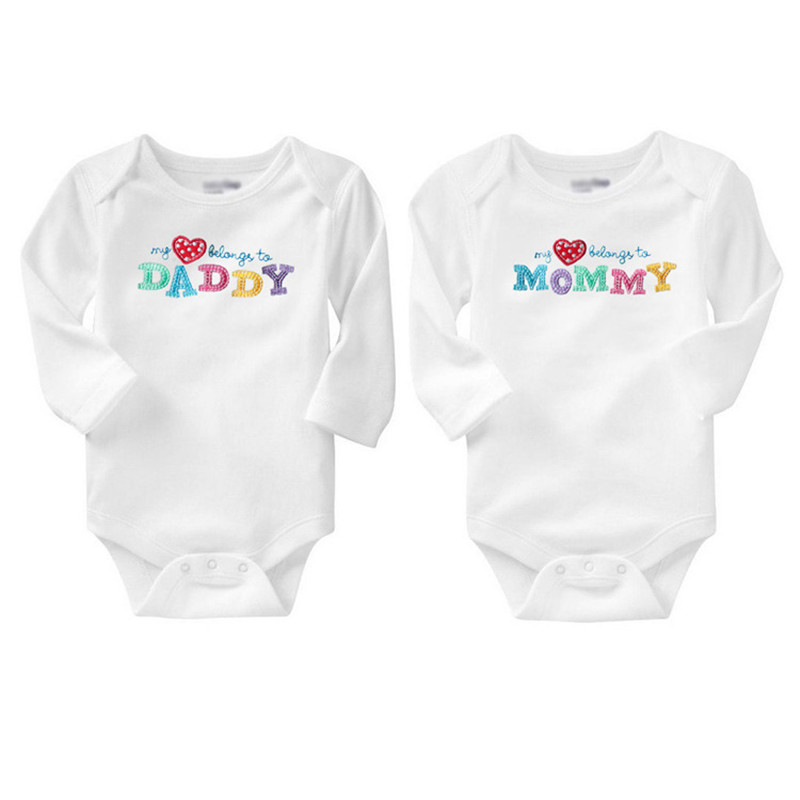 2 Pcs Lot New Baby Boy Girl Clothes Printed I Love Dad Mom