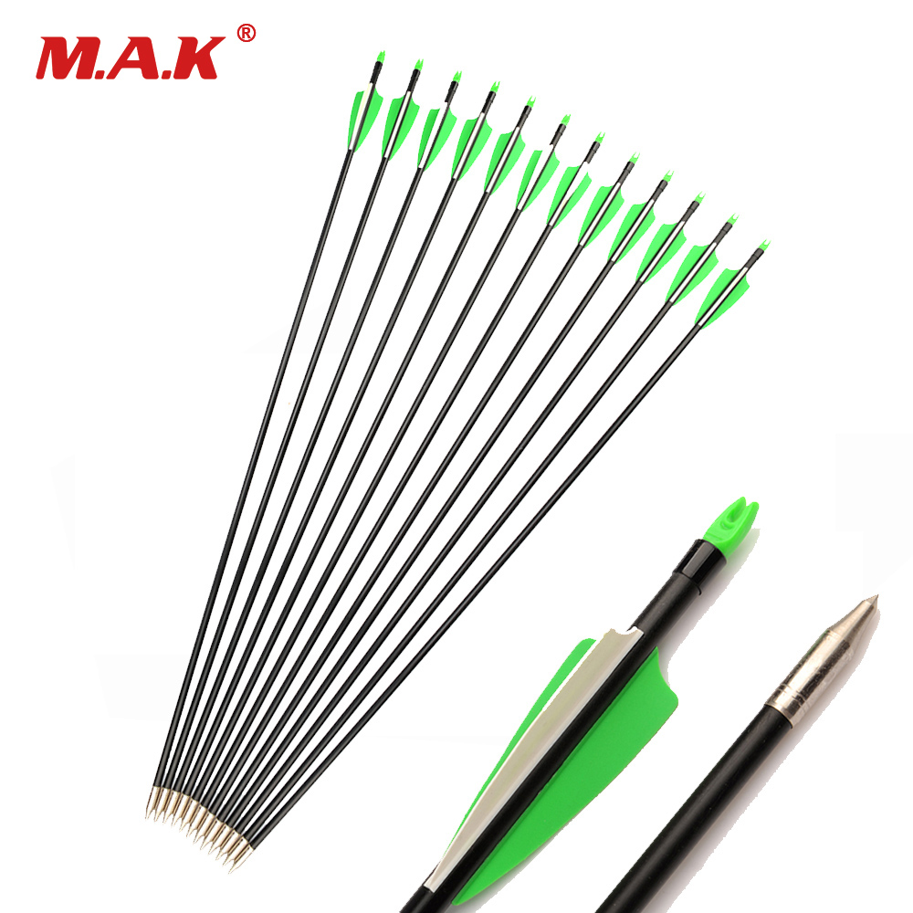 Spine 400 Fiberglass Hunting Arrows Archery With 2 Green 1 White Feather For Compound Bow And Recurve Bow Arrow Sport Shooting