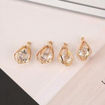 9ca5132d431 Moda 10 unids lote 3D cristal Diamante de imitación forma de gota de agua  Color dorado plata-Color amuletos joyería de moda accesorios para  manualidades DIY