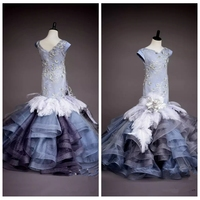2019 Short Sleeves Lace Slim Mermaid Flower Girls Dresses Pageant Party Gowns Flowers Appliques Tulle Tiered Long Prom Gowns
