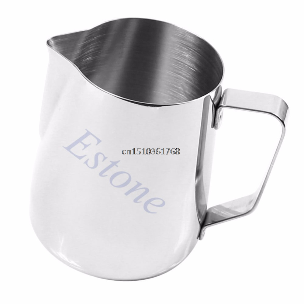 Kitchen Stainless Steel Coffee Frothing Milk Tea Latte Jug 350 mL #Y05# #C05# eupa stainless steel 500ml espresso coffee latte art cylinder pitcher barista craft latte milk frothing jug household